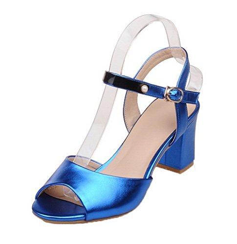 AgooLar Aperta Tacco Donna Alto Puro Luccichio Sandali Azzurro Fibbia Punta fafrq