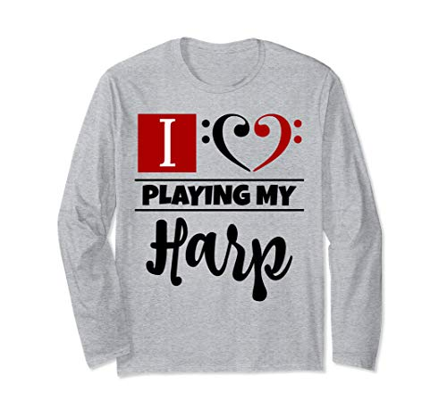 Double Black Red Bass Clef Heart I Love Playing My Harp Unisex Long Sleeve Shirt