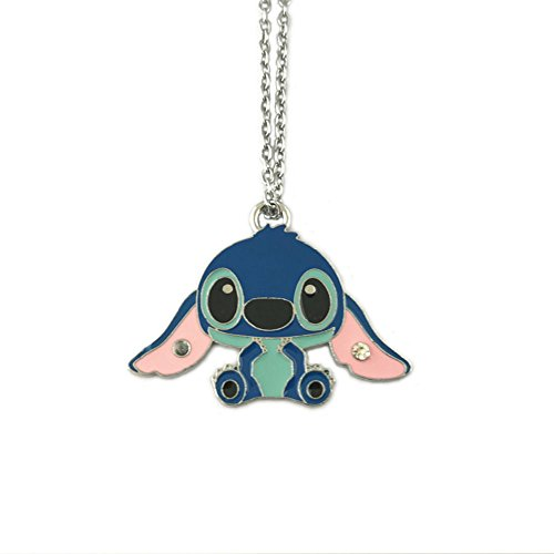 "Price comparison product image InspireMe Family Owned Lilo and Stitch Silver Tone Necklace,  22"" Chain"