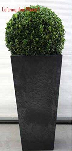 Blumenübertopf Artstone Ella Vase aus Kunststoff, sonnen-und regenbeständig für Innen und Außen, Farbe Schwarz 35x35x70cm