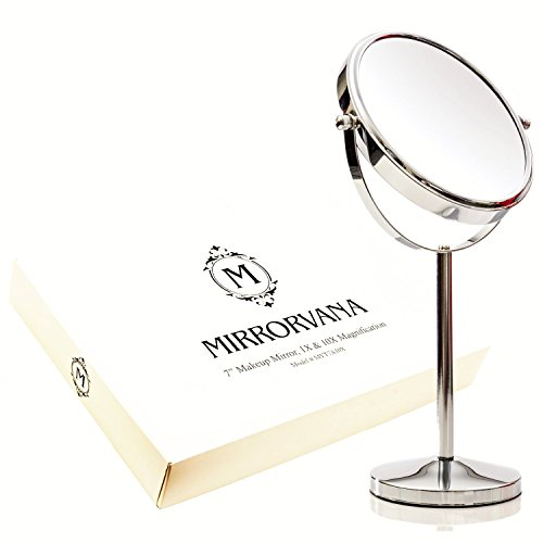 MIRRORVANA 7 Inch Vanity Makeup Mirror, 1X and 10X Magnifying Mirrors (Circle Mirror Tray)