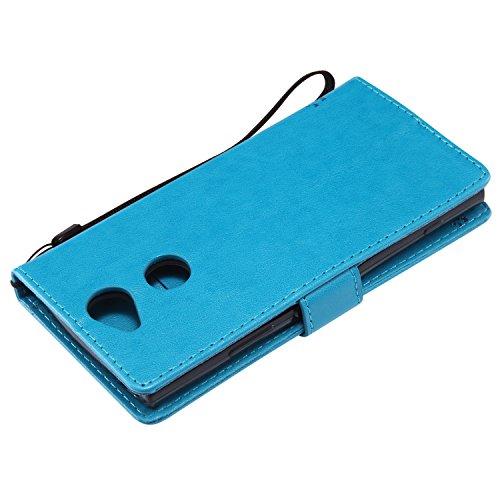 Funda Sony Xperia XA2, SsHhUu Funda PU Piel Genuino [Ranuras para Tarjetas] [Cierre Magnetico] con Lápiz óptico + Acollador para Sony Xperia XA2 (5.2) Verde Azul