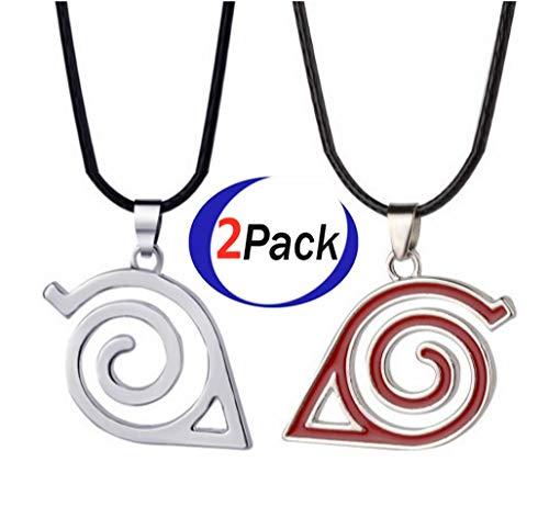 Naruto.Master Online Leaf Village Ninja Kakashi Symbol Logo Pendant Necklace Silver and red(2 Pack) (Leaf Village Ninja)