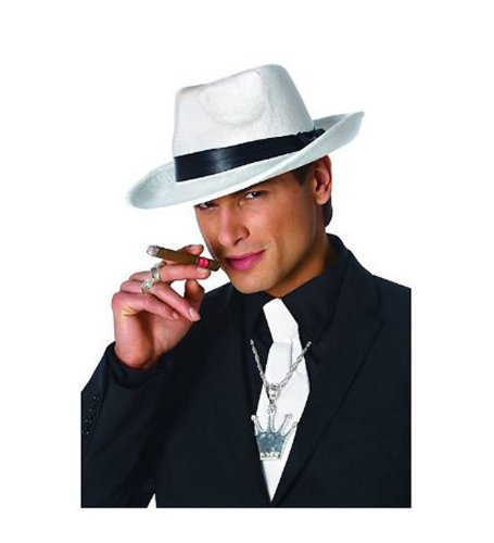 Kangaroo White Felt Gangster Mobster Fedora Hat