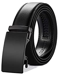 CHAOREN Mens Belt, Ratchet Leather Dress Belt for Men Adjustable with Slide Automatic Buckle, Trim to Exact Fit