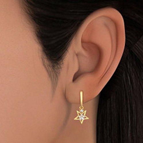 Or jaune 18K 0.17CT TW White-diamond (IJ | SI) Boucles d'oreille à tige