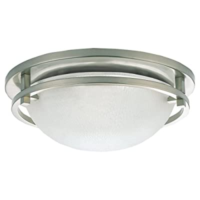 Sea Gull Lighting Eternity Close-to-Ceiling Fixture, Clear Highlighted Satin Etched Glass and Brushed Nickel