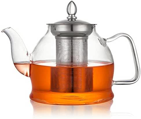 Hiware 1000ml Glass Teapot with Removable Infuser, Microwavable and Stovetop Safe Teapot, Blooming and Loose Leaf Tea Pots