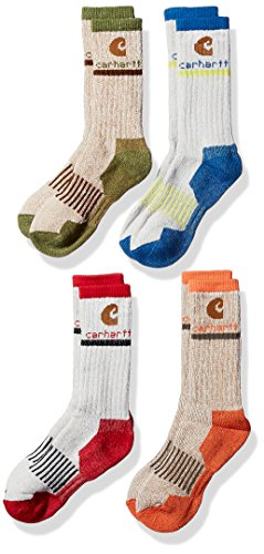 Carhartt Big Boys' 4 Pack Rib Crew Socks, Grey/Blue/Brown/Orange/Red, Shoe Size: 3-9 (Boys Wool)