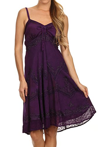 Sakkas 151304 - Lacey Stonewashed Embroidered Silver Threaded Spaghetti Strap Dress - Purple - S/M