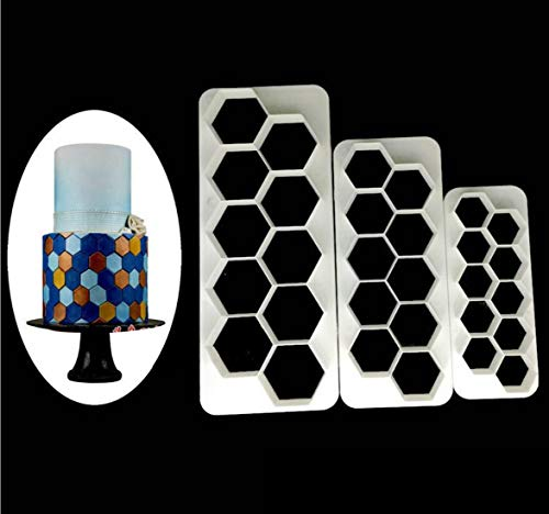 Fondant Cutter 3pcs/ set, Geometric MultiCutters for Cake Design - Diamond - Small, Medium & Large Size (Hexagon)