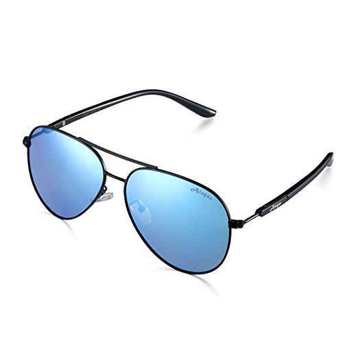 bc777f3df98 Galleon - Aloyse Polarized Aviator Sunglasses For Men Women Metal Frame UV  Protection Classic Sun Glasses (Black Blue)