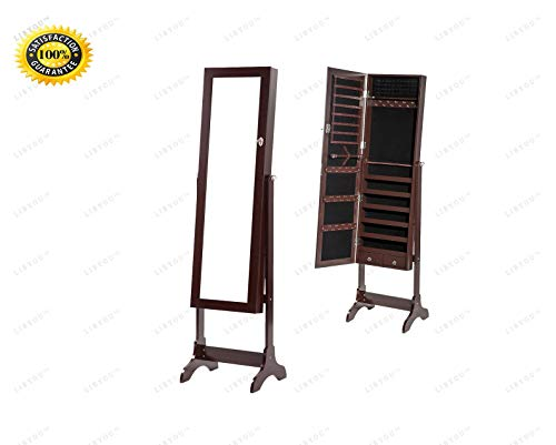 - COLIBROX--Jewelry Cabinet with Mirror.Jewelry Cabinet Brown.Jewelry Cabinet Door Mirror.Lockable Jewelry Cabinet .Jewelry Armoire with Mirror. Jewelry Holder Organizer Storage