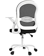 Sytas Office Chair Ergonomic Desk Chair,Rolling Swivel Mesh Task Computer Chair with Flip-up Arms Lumbar Support and Height Adjustable for Adults and Kids,White