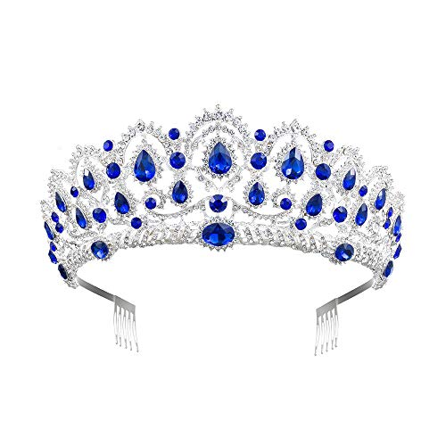 MACOIOR Tiara Crowns for Women,Vintage Crystal Rhinestone Pageant Princess Crowns With Comb Baroque Wedding Bridal Tiaras Hair Accessories (Blue)