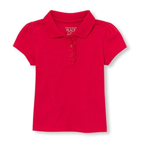 The Children's Place Big Girls' Long Sleeve Ruffle Polo Shirt, Ruby, 3T (Toddlers Girls Polo Shirt)