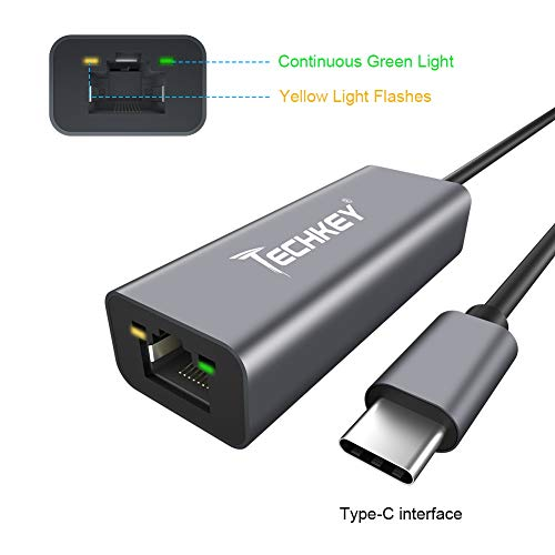 USB C to Ethernet Adapter, Techkey USB Thunderbolt 3 / Type C to RJ45 Gigabit Ethernet LAN Network Adapter Compatible for MacBook Pro 2019/2018/2017 Dell XPS ChromeBook Galaxy S9/S8 and More