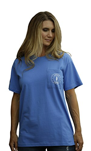 Lucky Love Graphic Short Sleeve T Shirt For Women & Plus Size - Relaxed Fit & Longer Length (Large, Blue Short Sleeve) (Clothes Real Designer)