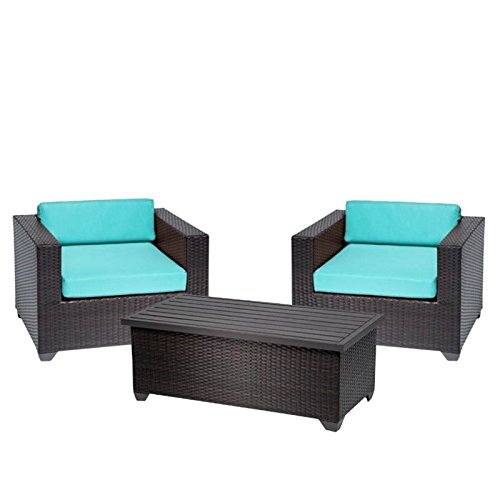 Home Square 3 Piece Patio Furniture Set with Set of 2 Wickered Patio Arm Chair and Coffee Table in Espresso and (Del Mar Coffee Table)