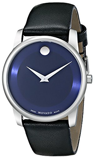 Movado Men s 0606610 Museum Stainless Steel Watch with Black Leather Band