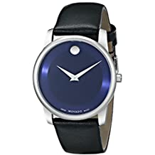Movado Men's 0606610 Museum Classic Stainless Steel Case Black Calfskin Leather Strap Blue Dial Watch