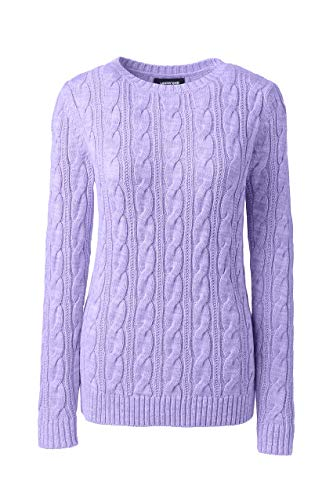 Lands' End Women's Drifter Cotton Cable Knit Sweater Crewneck, XL, Light Amethyst Marl ()
