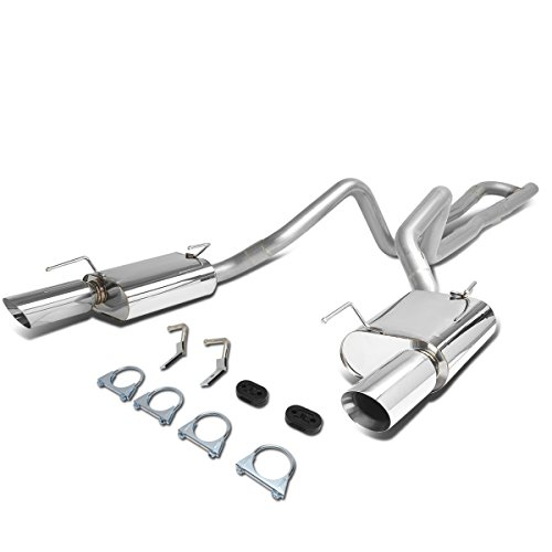 For Ford Mustang 4.0L V8 Rear 2.5 inches Outlet 4 inches OD Dual Round Cut Muffler Tip Catback Exhaust System