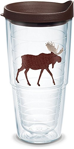 Tervis 1130212 Moose Insulated Tumbler with Emblem and Brown Lid, 24oz, Clear