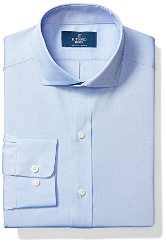 Buttoned Down Men's Classic Fit Cutaway Collar Solid Non-Iron Dress Shirt (No Pocket), Blue, 17.5