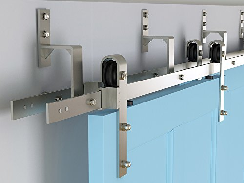 DIYHD 5.5ft brushed nickel steel bypass double sliding barn door hardware one piece easy mount bypass bracket by DIYHD