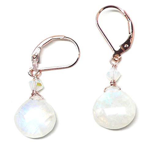 Moonstone Rose Ring - Rainbow Moonstone Briolette Lever Back Earrings Swarovski Crystal Rose Gold-Filled