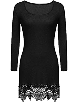 Women's Long Sleeve Lace Trim Short A-line Dress Casual Long Tunic top