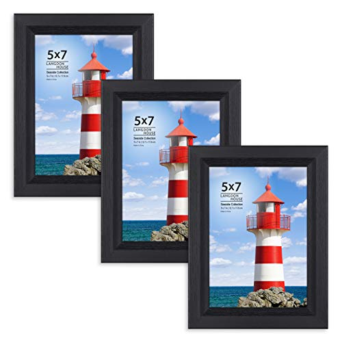 Beveled Edge Frame - Langdons 5x7 Picture Frame (3 Pack, Black), Sturdy Wood Composite Photo Frame 5 x 7, Wall Mount or Table Top, Set of 3 Seaside Collection