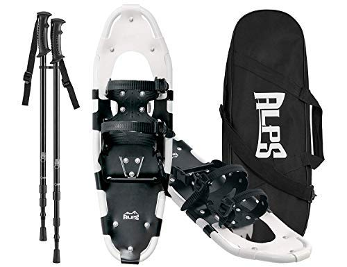 ALPS Performance Snowshoes with Pair Antishock Snowshoes Poles + Free Carrying Tote Bag (27 INCHES)