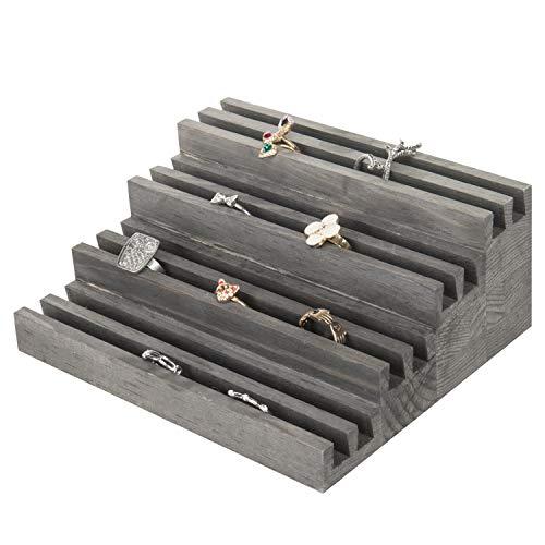 (MyGift 4-Tier Rustic Grey Wood Ring Display Riser)