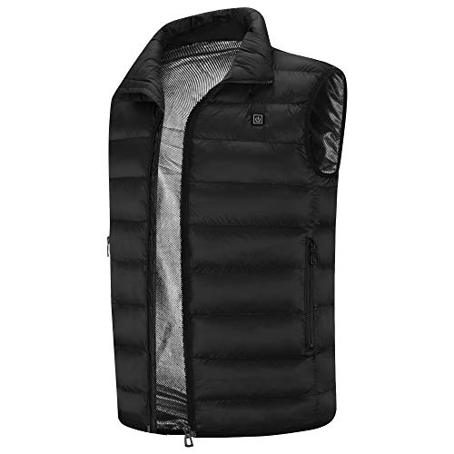 Sidiou Group Electric Heated Vest USB Charging Heated Vest Adjustable Heated Clothing Gilet Vest (Black, XL)