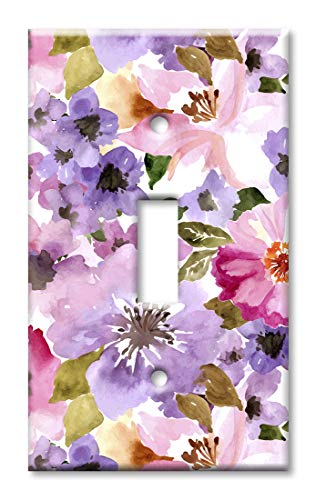 (Art Plates 1-Gang Toggle OVERSIZED Switch Plate/OVER SIZE Wall Plate - Pink & Purple Flower Watercolor)