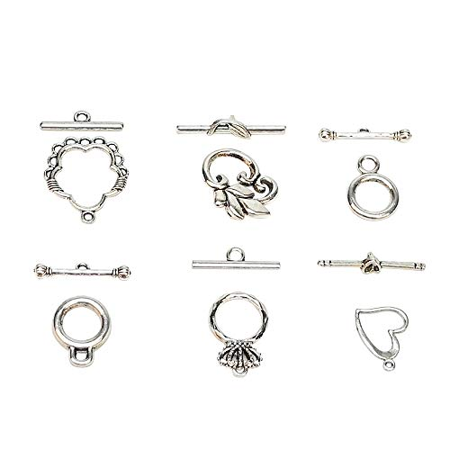 Chenkou Craft 30Sets Lead Free Antique Silver Tibetan Alloy Ring Bracelet Toggle Clasp Sets (Anti-Silver, from 5/8