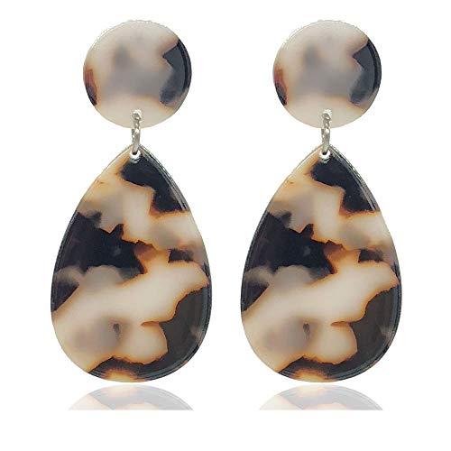 Brown Yellow Earrings - Teardrop Drop Earrings for Women Girls Acrylic Stud Earrings with Leopard Resin Statement Fashion Jewerly-White Earrings