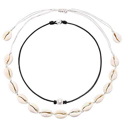 URSKYTOUS Natural Shell Choker Necklace Single Simulated Pearl Choker Necklace Seashell Pearl Pendant Necklace Set Adjustable White Hawaii Beach Boho Cowrie Jewelry Gift for Women Girls