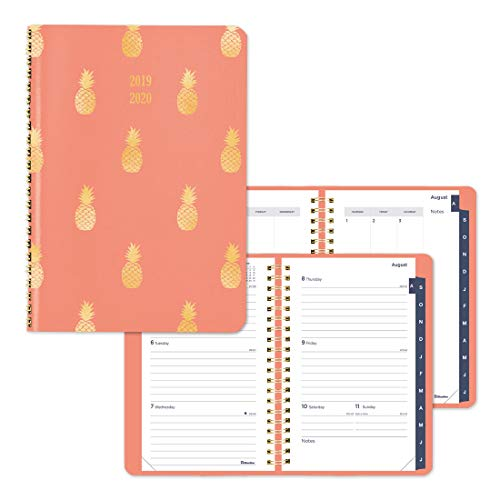 (Blueline Weekly/Monthly Academic Planner, Coral Vicuana Cover with Pineapple foil Stamping, Tabbed, Twin-Wire Binding, English, 8 x 5 inches (CA155.03-20))