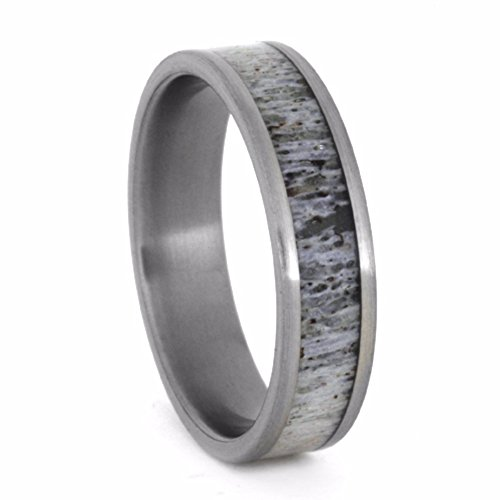 Deer Antler 6mm Comfort-Fit Brushed Titanium Wedding Band, Size 12 by The Men's Jewelry Store (Unisex Jewelry)
