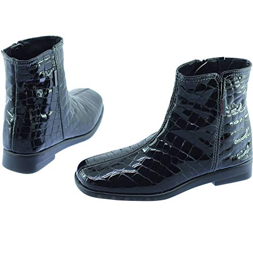 Zip slip V Black per le Aerobica una stivali Shoes Tubo donne Bottine flessibile Eliporto Oco Sole vernice Shock Croco nera qRBwRHfI