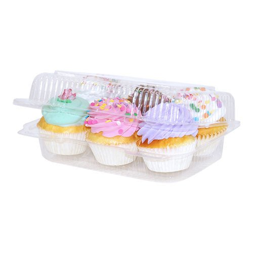 6 compartment Clear Cupcake Muffin Containers with Hinged Lid - 12 Containers Great for standard size cupcakes and (Cupcake Container)