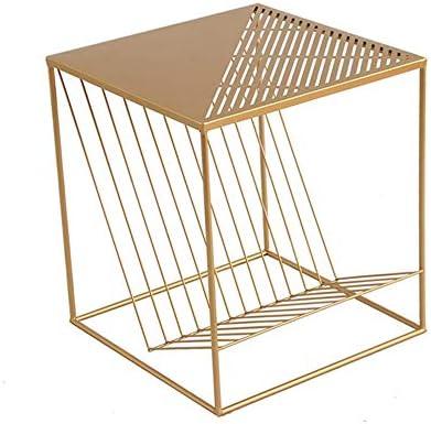ノルディックスクエアソファサイドテーブル、クリエイティブなスナックエンドテーブルフレーム スチールフレームは安定性と耐久性に優れ、オープンでコンパクトな設計で保管も簡単
