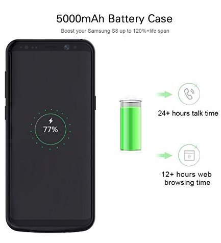 Funda de Batería Externa Ultra Fino, Mbuynow 5500 mah Funda Protectora Cargador/Funda de Batería Integrada Recargable de Alta Capacidad para Samsung Galaxy S8 Inteligente Móvil,Color Negro (S8)