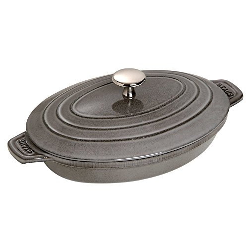 Staub Oval Hot Plate w/ Lid, Graphite Grey, 1 qt. - Graphite Grey by Staub