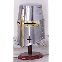 Vintage Armour Store Medieval Templar Crusader Knight Armor Helmet With Wooden Stand Greek Spartan Roman