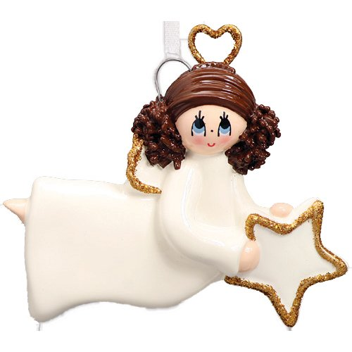 Personalized Star Angel Christmas Ornament for Tree 2018 - Brown Hair Prayer White Dress with Gold Wings Heart Halo - Brunette Memorial Remembrance Heaven - Free Customization by Elves