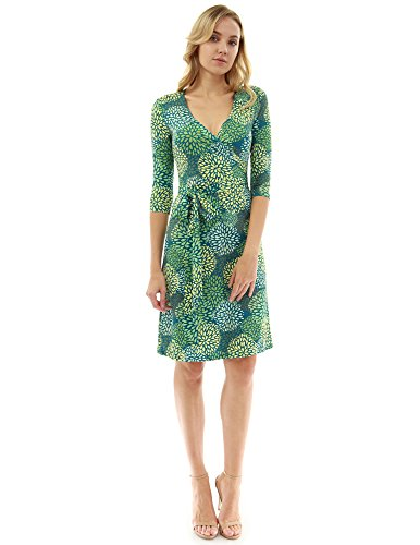 PattyBoutik Women Faux Wrap A Line Dress (Teal, Green and Yellow19 Large)
